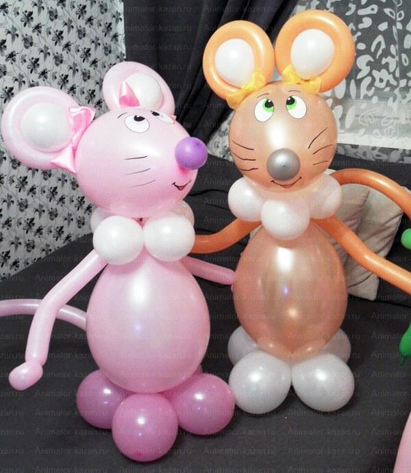 Мышка из воздушных шариков