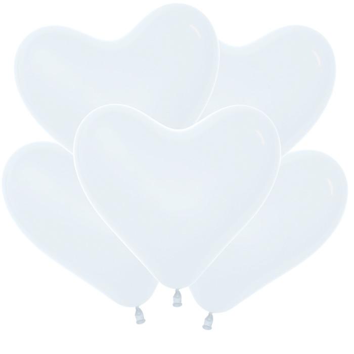 Сердце Белый, Пастель, 30 см, 100 шт / Колумбия