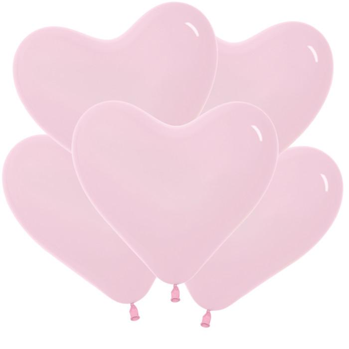 Сердце Розовый, Пастель, 30 см, 100 шт / Колумбия