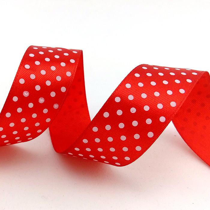 Лента Атлас Красный в белый горох / 2,5 см * 22,85 м