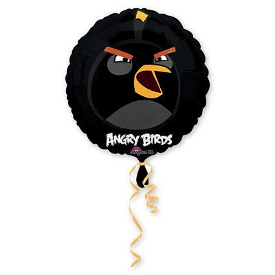 Шар фольгированный Angry Birds Черная, 46 см