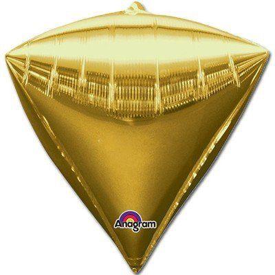 Фольгированный шар 3D АЛМАЗ без рисунка, 44 см, Металлик, золото