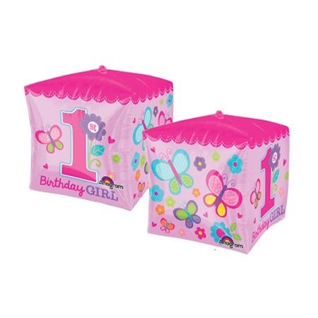 Шар 3D КУБ 1-й День Рожденья девочкаG20, 38см