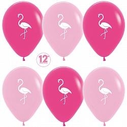 Шар (30 см) Фламинго, Фуше (012)/Розовый (009), пастель, 2 ст, 50 шт.