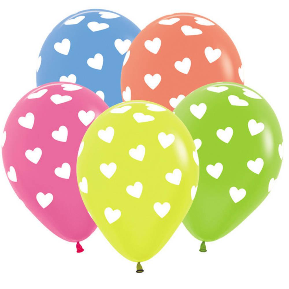 Гелиевые шары с рисунками, Сердца Неон 30 см