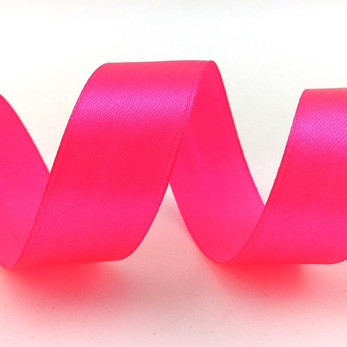 Лента Атлас Розовый неон,2,5 см * 22,85 м