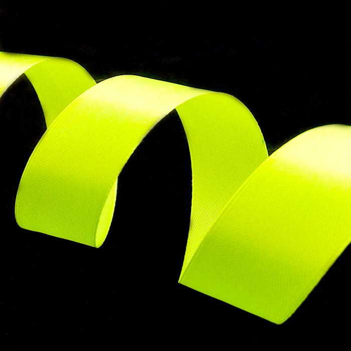 Лента Атлас Желтый неон, 2,5 см * 22,85 м