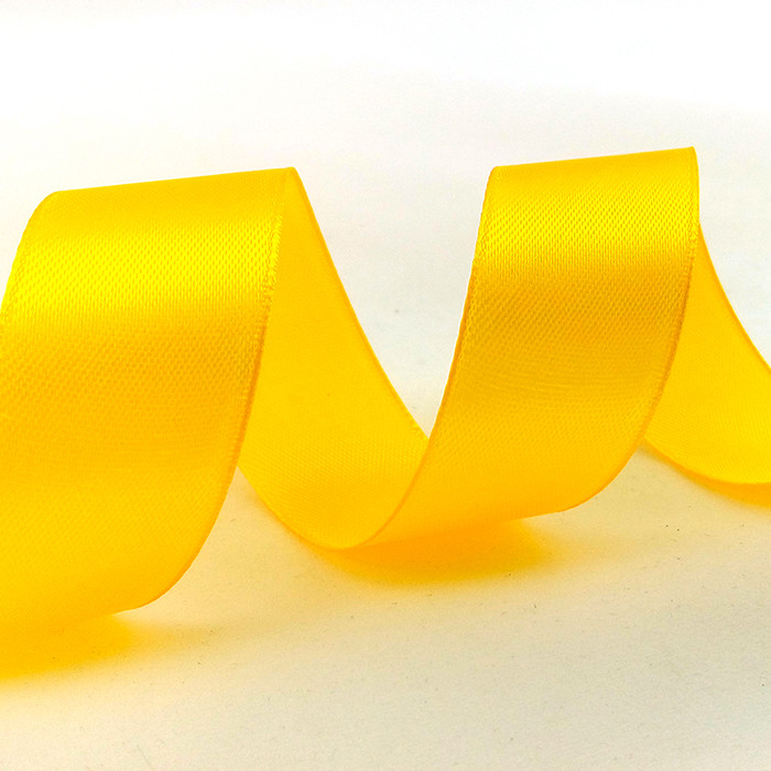 Лента Атлас Темно-Желтый, 2,5 см * 22,85 м