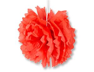 Помпон бумажный красный 40см/G