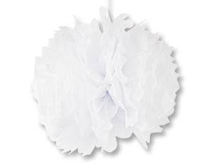 Помпон бумажный белый 40см/G
