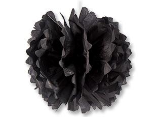 Помпон бумажный черный 40см/G