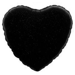 Шар Сердце, Черный голография, 46 см