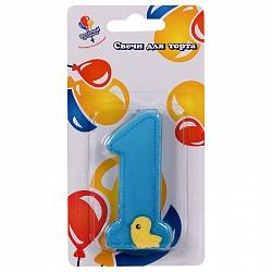 Свеча Цифра 1 голубая с уточкой, 7,5 см