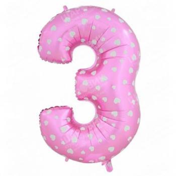 Цифра «3» розовая 102см