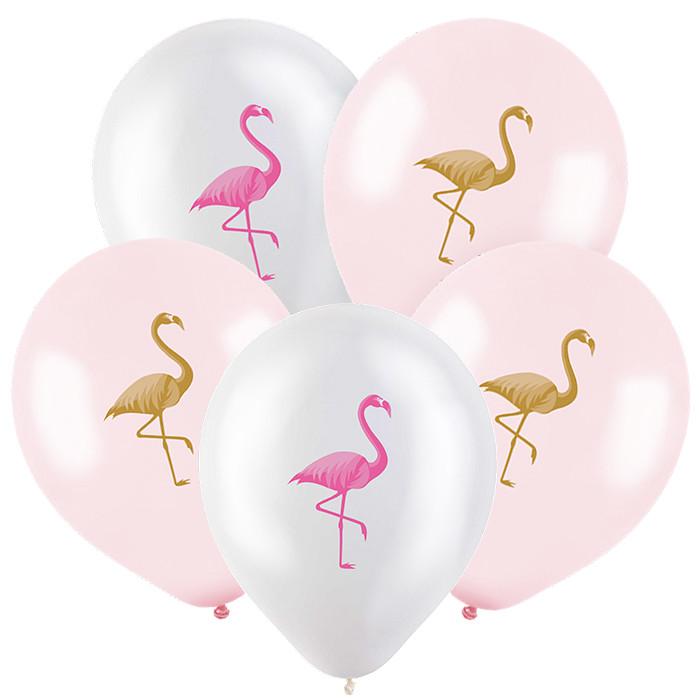 Фламинго, Ассорти Пастель-Кристал, 30 см, 2 сторонняя печать, 100 шт