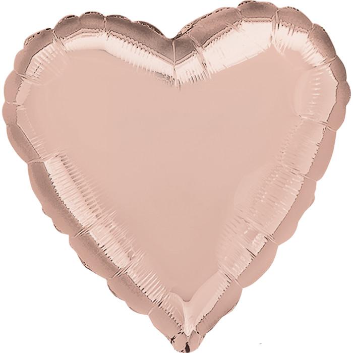 Сердце Роза Голд в упаковке, 46 см