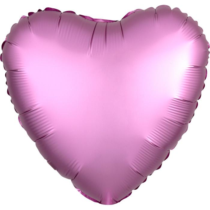 Сердце Розовый Сатин Люкс в упаковке, 46 см