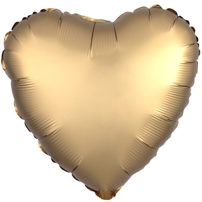 Сердце Золото Сатин Люкс в упаковке, 46 см