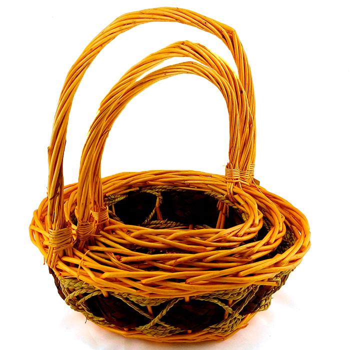 Плетеная корзина с ручкой.  Ива натуральная / круг, 22*22*27 см