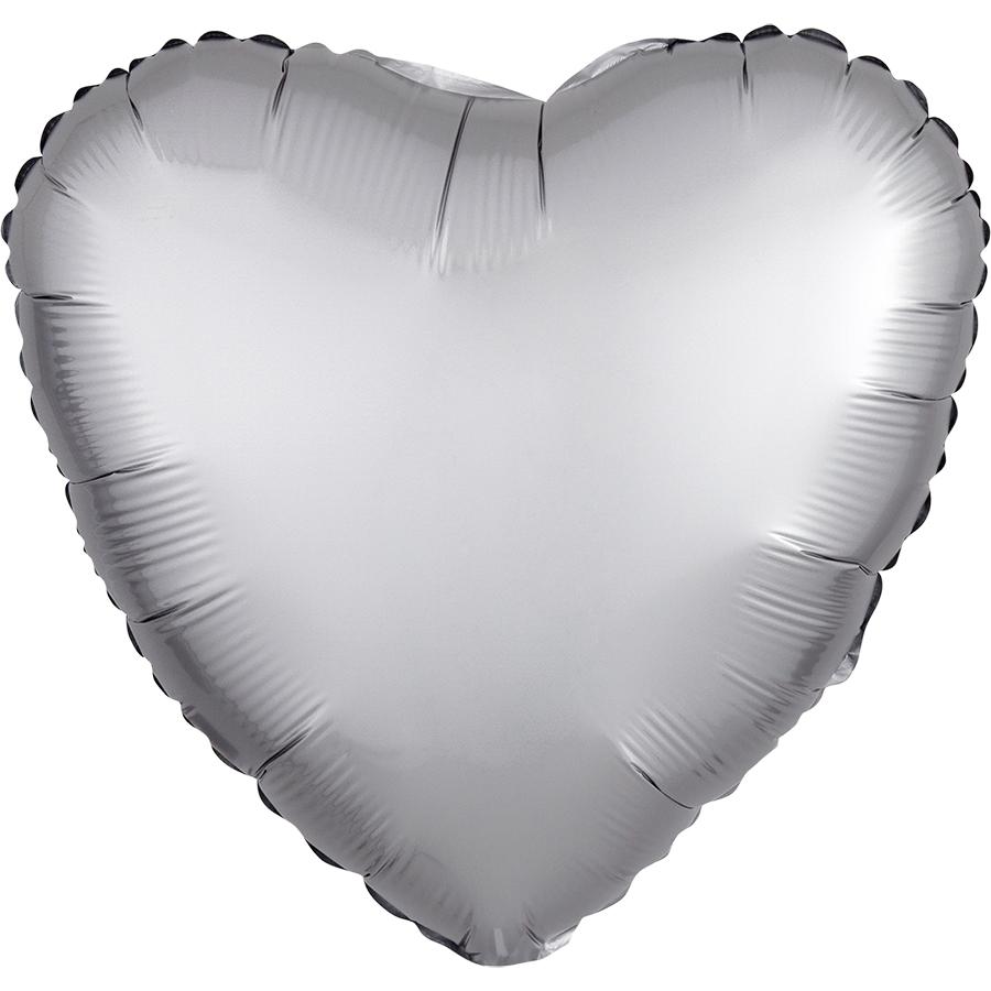 Сердце Платина Сатин Люкс в упаковке, 46 см