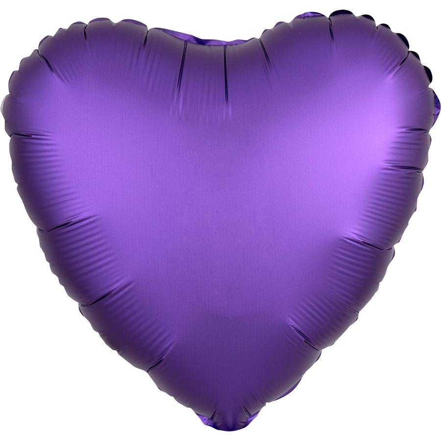 Сердце Фиолетовый Сатин Люкс в упаковке, 46 см