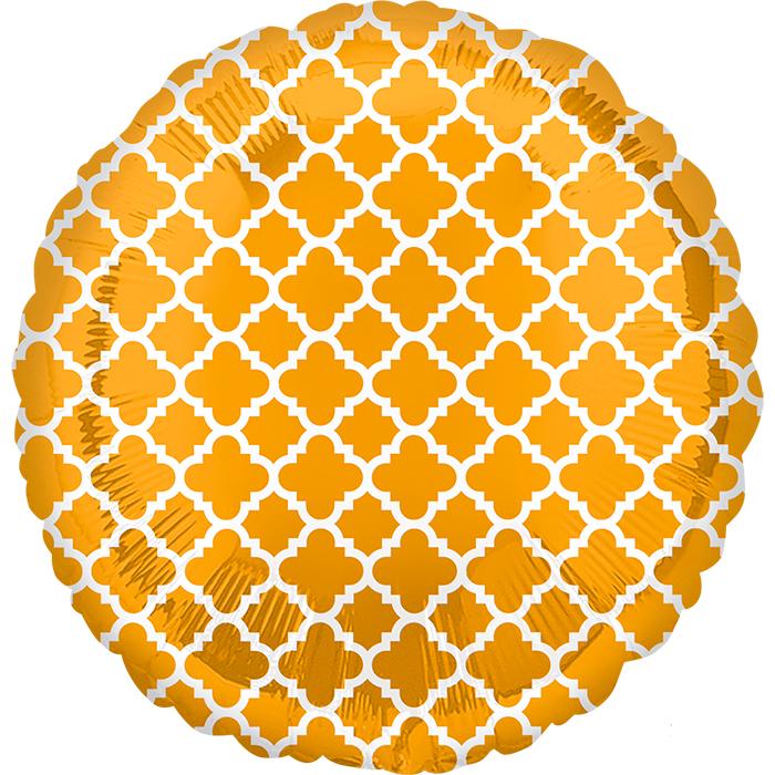 Круг Узор на золоте / Gold & White Quatrefoil S30, 48 см