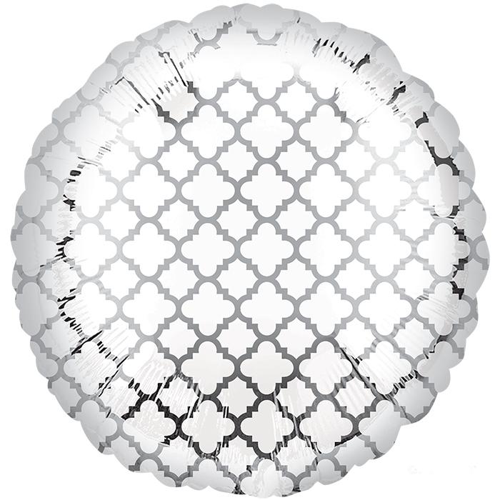 Круг Узор на серебре / White & Silver Quatrefoil S30, 48 см