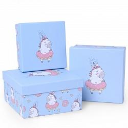 Набор коробок 3 в 1, Единорог и пончик, Светло-голубой, 13*13*6см