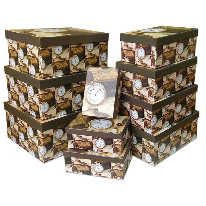 """Набор коробок 10 в 1 """"Мужской подарок. Часы"""" / прямоугольник, 35*28*15,5 см"""