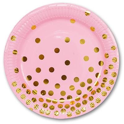 Тарелка бум Горошек золотой 23см 6шт