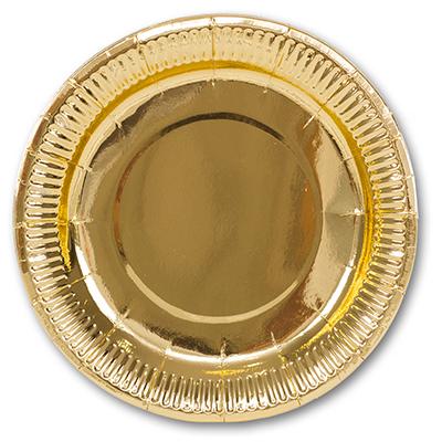Тарелка фольгирован золотая 23см 6шт