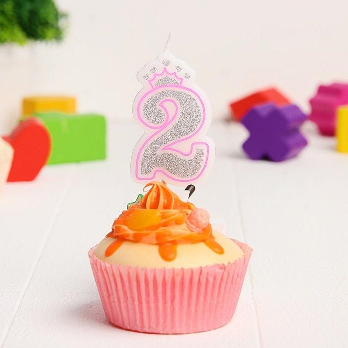 Свеча в торт цифра Дисней 2, Холодное сердце, с короной, серебрянная
