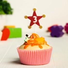 Свеча в торт цифра Дисней 3,Тачки, звезда, красно-золотые