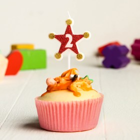 Свеча в торт цифра Дисней 2, Тачки, звезда,красно-золотые