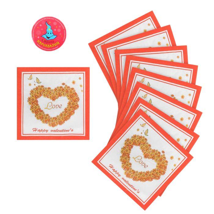 салфетки бумажные (набор 20 шт) 33*33 см Love