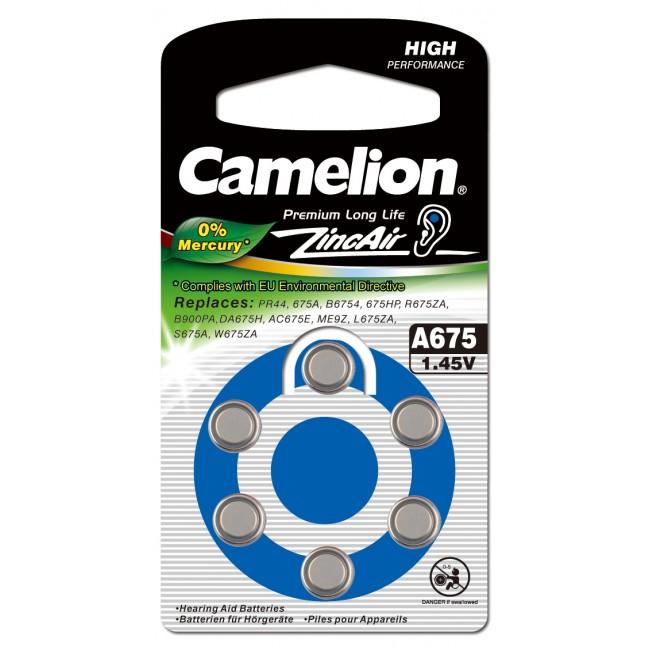 Батарейка Camelion  ZA 675  BL-6  Mercury Free д/слуховых аппаратов, 1,4V, 620mAh