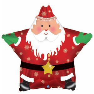 Шар (18/46 см) Звезда, Санта: С Новым годом, Красный