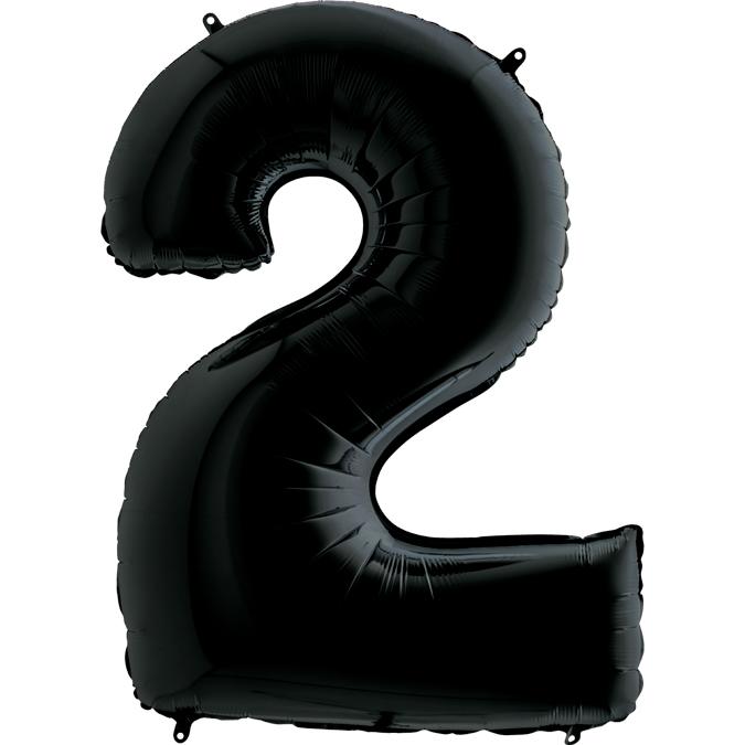 Шар (40/102 см) Цифра, 2, Черный
