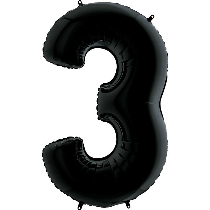 Шар (40/102 см) Цифра, 3, Черный