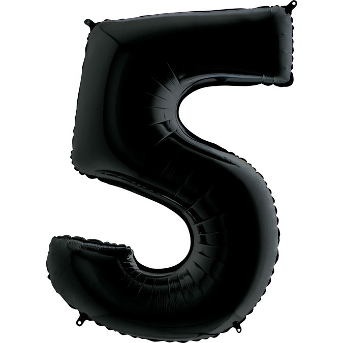 Шар (40\/102 см) Цифра, 5, Черный