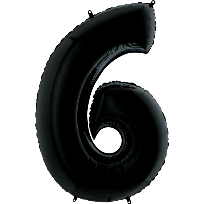 Шар (40/102 см) Цифра, 6, Черный