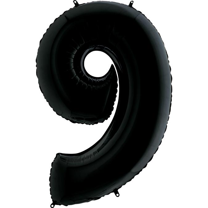 Шар (40/102 см) Цифра, 9, Черный