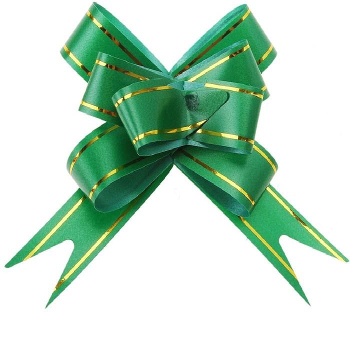 Бант Бабочка с золотой полосой Зеленый (4,4\/11 см), 1 шт.