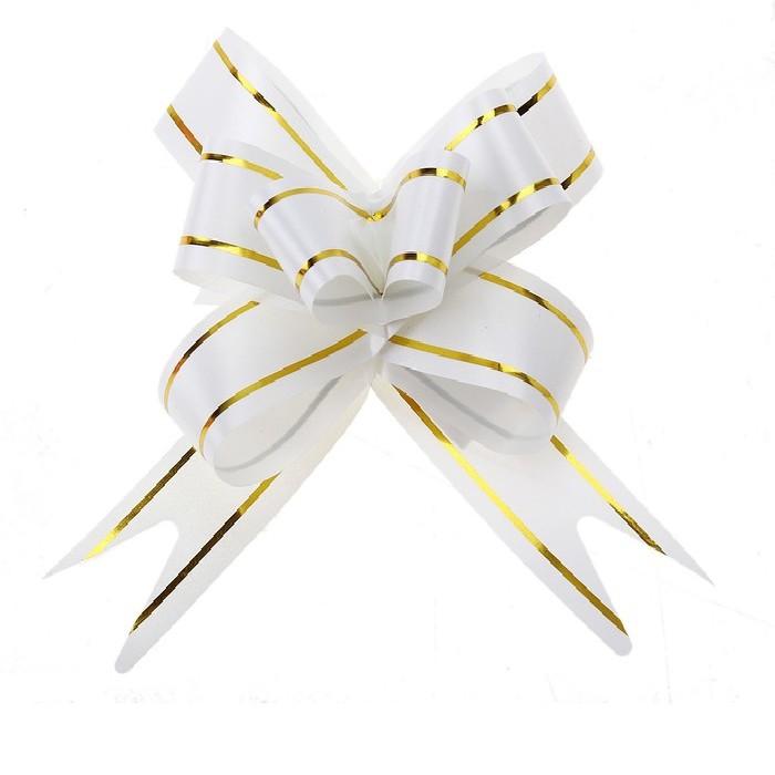Бант Бабочка с золотой полосой Белый (4,4\/11 см), 1 шт.
