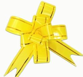 Бант Бабочка с золотой полосой Желтый (4\/10 см), 1 шт