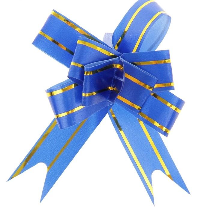 Бант Бабочка с золотой полосой Голубой (4\/10 см), 1 шт.