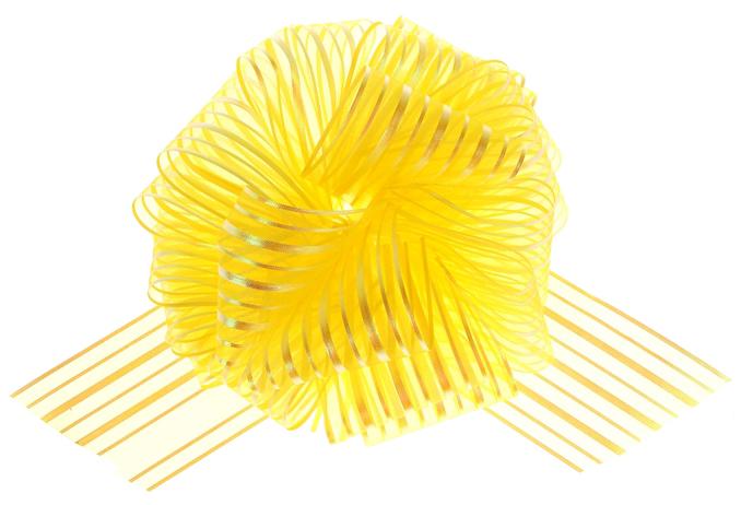 Бант Шар органза Полоска Желтый (6,4\/16 см), 1 шт