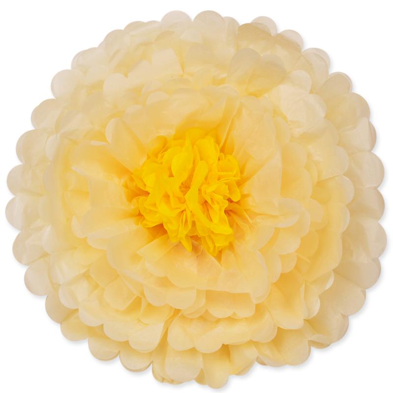 Бумажный цветок Слоновая кость/Желтый (20\/51 см)