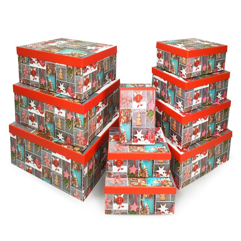 Набор коробок 10 в 1, Новогодний декор, 21*14*9см