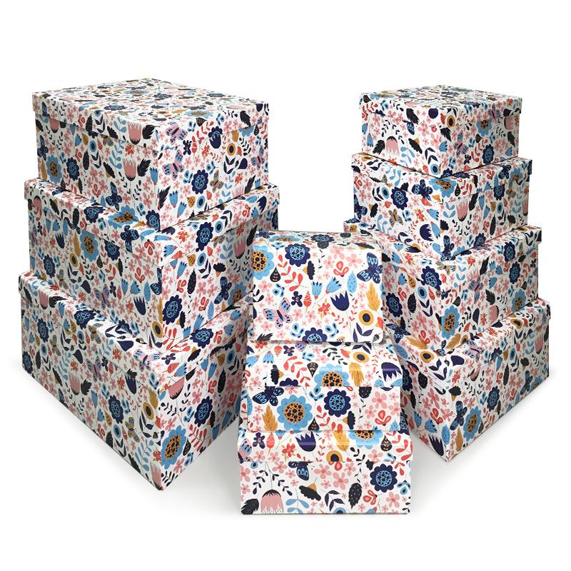 Набор коробок 10 в 1, Цветочный принт, 37*30*17см